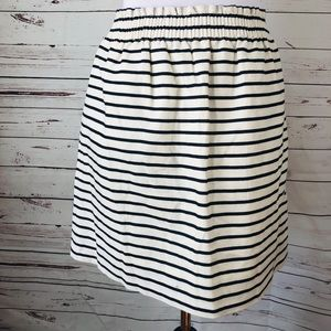 J Crew Striped A-line Skirt Sz 8 Black White Lined